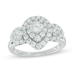 1-1/2 CT. T. W. Diamond Past Present Future® Pear-Shape Frame Ring in 14K White Gold