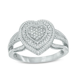 Diamond Accent Heart Frame Split Shank Ring in Sterling Silver