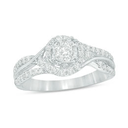 3/4 CT. T.W. Diamond Frame Engagement Ring in 14K White Gold
