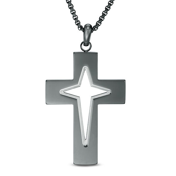 Mens Cutout Cross Pendant in Two-Tone Stainless Steel - 24""