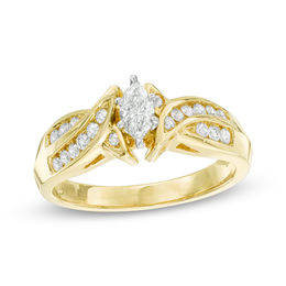 1/2 CT. T.W. Marquise Diamond Swirl Engagement Ring in 14K Gold