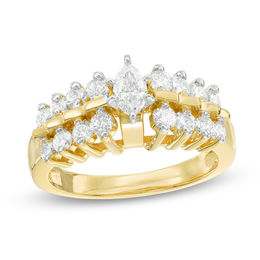 1 CT. T.W. Marquise Diamond Two Row Engagement Ring in 14K Gold