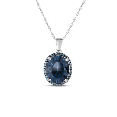 4eead78b2 Oval London Blue Topaz and 1/8 CT. T.W. Enhanced Blue Diamond Frame Pendant  in 14K White Gold