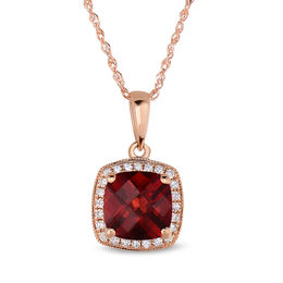 7.0mm Cushion-Cut Garnet and 1/10 CT. T.W. Diamond Vintage-Style Frame Pendant in 14K Rose Gold