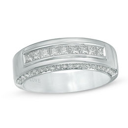 Vera Wang Love Collection Men's 1 CT. T.W. Diamond Nine Stone Wedding Band in 14K White Gold