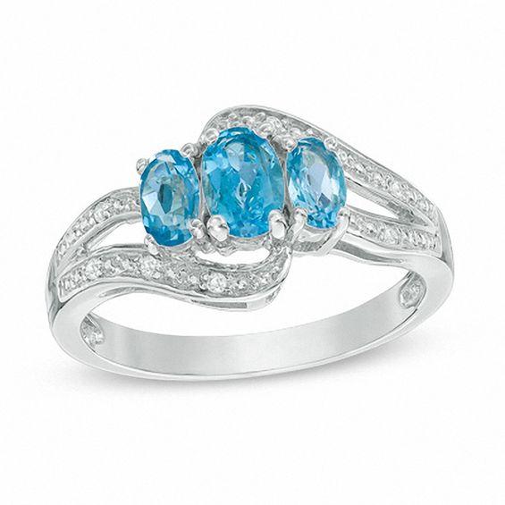 Zales Oval Blue and White Topaz Split Shank Ring in Sterling Silver YVRcxEEhF