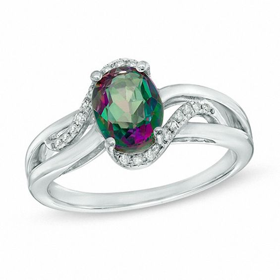 Oval Mystic Fire(R) Topaz and Diamond Accent Bypass Ring in 10K White Gold at Gordons V-20060515