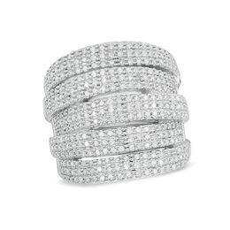 1 CT. T.W. Diamond Multi-Row Stacked Ring in Sterling Silver
