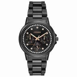 Ladies' Citizen Eco-Drive® Silhouette Crystal Black Chronograph Watch with Black Dial (Model: FD2047-58E)