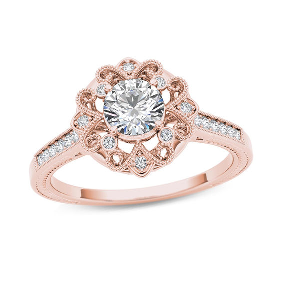 5 8 CT T W Diamond Flower Frame Vintage Style Engagement Ring in 14K Rose G