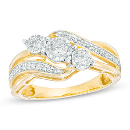 1/2 CT. T.W. Diamond Past Present Future® Bypass Engagement Ring in 10K Gold