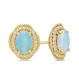 Oval Opal and 1/4 CT. T.W. Diamond Rope Frame Stud Earrings in 14K Gold