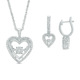 Unstoppable Love™ 1/8 CT. T.W. Diamond Heart Frame Pendant and Drop Earrings Set in Sterling Silver