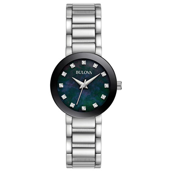 Ladies Bulova Diamond Accent Watch with Black Mother-of-Pearl Dia