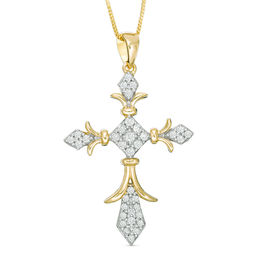 1/4 CT. T.W. Diamond Vintage-Style Cross Pendant in 10K Gold