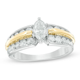 1-1/2 CT. T.W. Marquise Diamond Double-Row Engagement Ring in 14K Two-Tone Gold