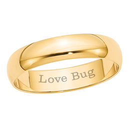 Men's 5.0mm Engraved Lightweight Wedding Band in 10K Gold (16 Characters)