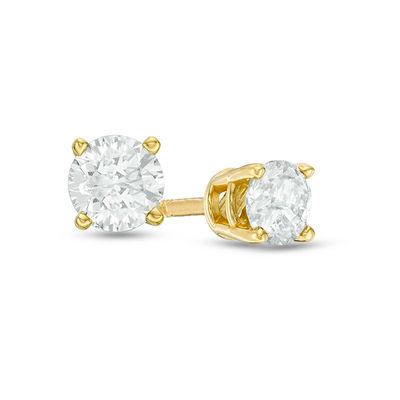 1 2 Ct T W Diamond Solitaire Stud Earrings In 14k Gold Zales