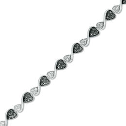 1/10 CT. T.W. Enhanced Black and White Diamond Hearts Bracelet in Sterling Silver