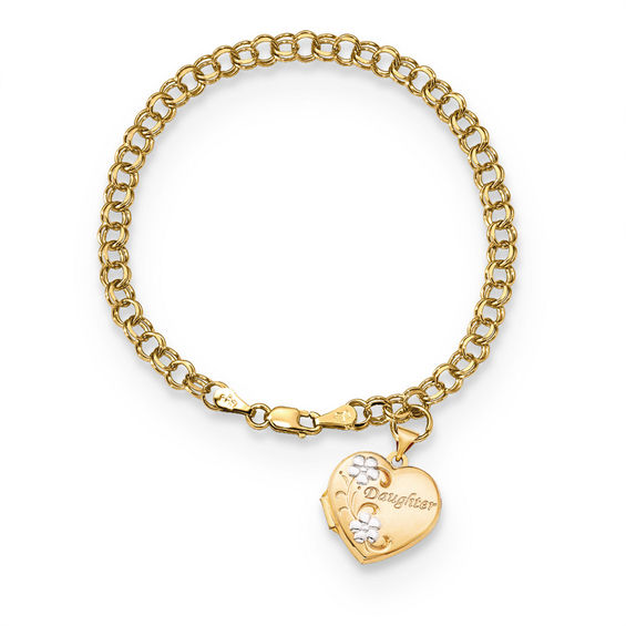 With Flowers Heart Shaped Locket Charm Bracelet In 14k Two Tone