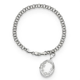 Diamond-Cut Floral Oval Locket Charm Bracelet in 14K White Gold