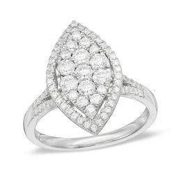 1 CT. T.W. Composite Diamond Marquise Frame Ring in 10K White Gold