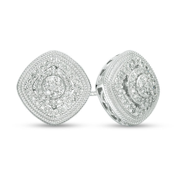 Image result for 1/3 CT. T.W. Composite Diamond Triple Frame Stud Earrings in 10K White Gold