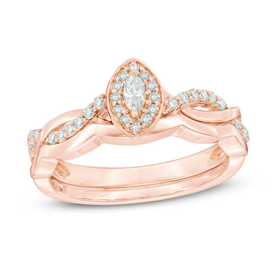 1 4 CT T W Marquise Diamond Frame Twist Bridal Set in 10K Rose Gold