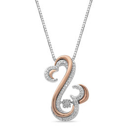 Open Hearts Rhythm by Jane Seymour™ 1/10 CT. T.W. Diamond Layered Pendant in Sterling Silver and 10K Rose Gold