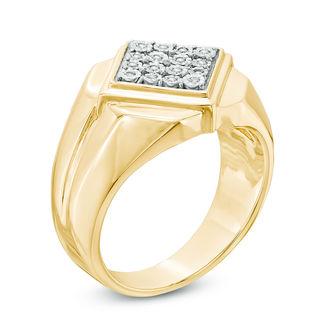 Men's 1/10 Ct. T.W. Composite Diamond Tilted Square Ring In Sterling Silver With 14 K Gold Plate by Zales
