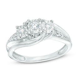 1/4 CT. T.W. Diamond Past Present Future® Bypass Engagement Ring in 10K White Gold