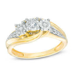 1/4 CT. T.W. Diamond Past Present Future® Bypass Engagement Ring in 10K Gold