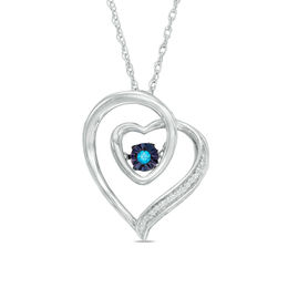 Unstoppable Love™ Enhanced Blue and White Diamond Accent Double Tilted Heart Pendant in Sterling Silver