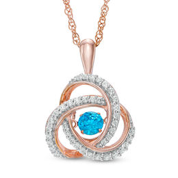 Unstoppable Love™ 1/2 CT. T.W. Enhanced Blue and White Diamond Love Knot Pendant in 10K Rose Gold