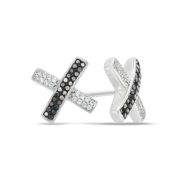 T W Enhanced Black And White Diamond X Stud Earrings