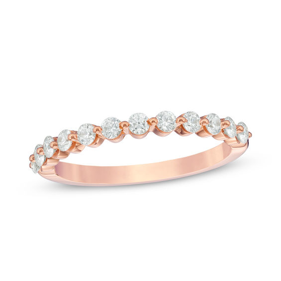 1 2 CT T W Diamond Wedding Band in 14K Rose Gold H SI2 Wedding Bands