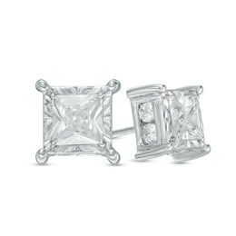1 CT. T.W. Princess-Cut Diamond Stud Earrings in 10K White Gold