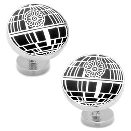 Men's STAR WARS Death Star Enamel Cuff Links in White Rhodium Brass