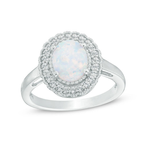 Oval Lab-Created Opal and White Sapphire Vintage-Style Scalloped Frame Ring in Sterling Silver 20071744