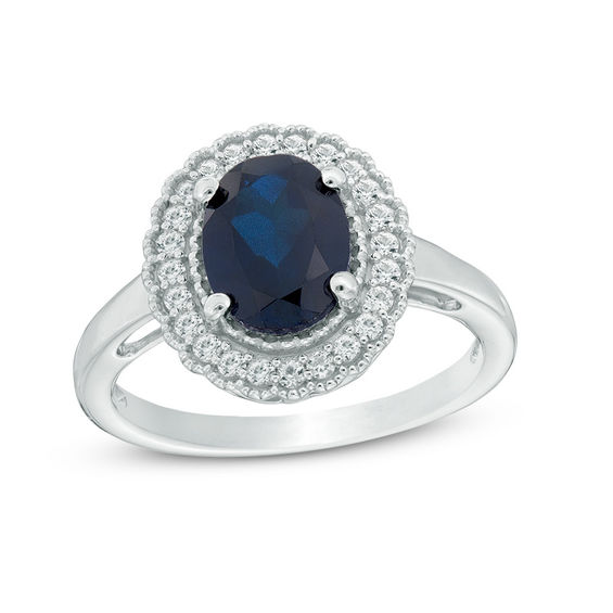 Oval Lab-Created Blue and White Sapphire Vintage-Style Scallop Frame Ring in Sterling Silver 20071745