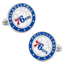 Men's NBA Philadelphia 76ers Logo Enamel Cuff Links in White Rhodium Brass