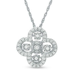 Unstoppable Love™ 1/4 CT. T.W. Diamond Vintage Style Clover Pendant in 10K White Gold