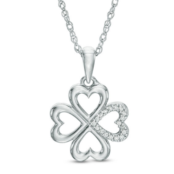 Diamond Accent Heart Shaped Four Leaf Clover Pendant In