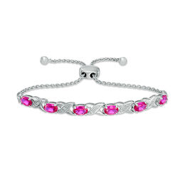 "Oval Lab-Created Ruby and Diamond Accent ""XO"" Bolo Bracelet in Sterling Silver - 9.5"""