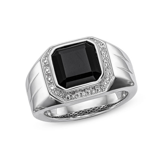 Zales Mens 10.0mm Octagonal Onyx and Diamond Accent Frame Band in Sterling Silver aKKbnZJe