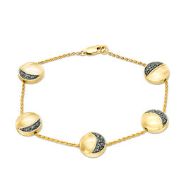 1/10 CT. T.W. Enhanced Black Diamond Moon Phase Station Bracelet in Sterling Silver and 14K Gold Plate