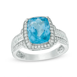 Cushion-Cut Swiss Blue Topaz and Lab-Created White Sapphire Frame Triple Row Ring in Sterling Silver - Size 7