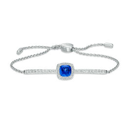 7.0mm Cushion-Cut Lab-Created Blue and White Sapphire Frame Bolo Bracelet in Sterling Silver - 9.0""