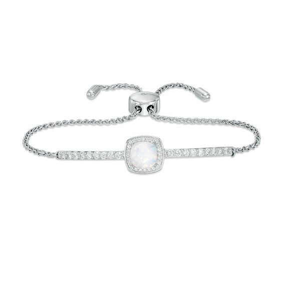 Zales 7.0mm Cushion-Cut Lab-Created Opal and White Sapphire Frame Bolo Bracelet in Sterling Silver - 9.0