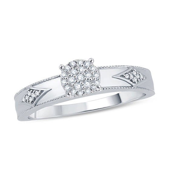 Zales 1/10 CT. T.w. Composite Diamond Kite-Shaped Sides Engagement Ring in 10K White Gold AgXgSFxg